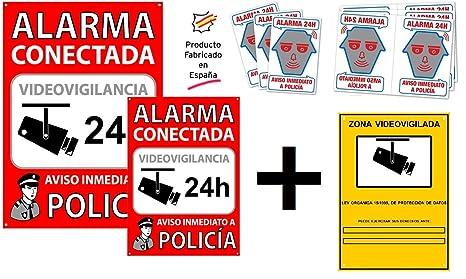 tualarmasincuotas.es ▷ Pack o Conjunto de Carteles disuasorios + Zona Videovigilada + 6 Pegatinas
