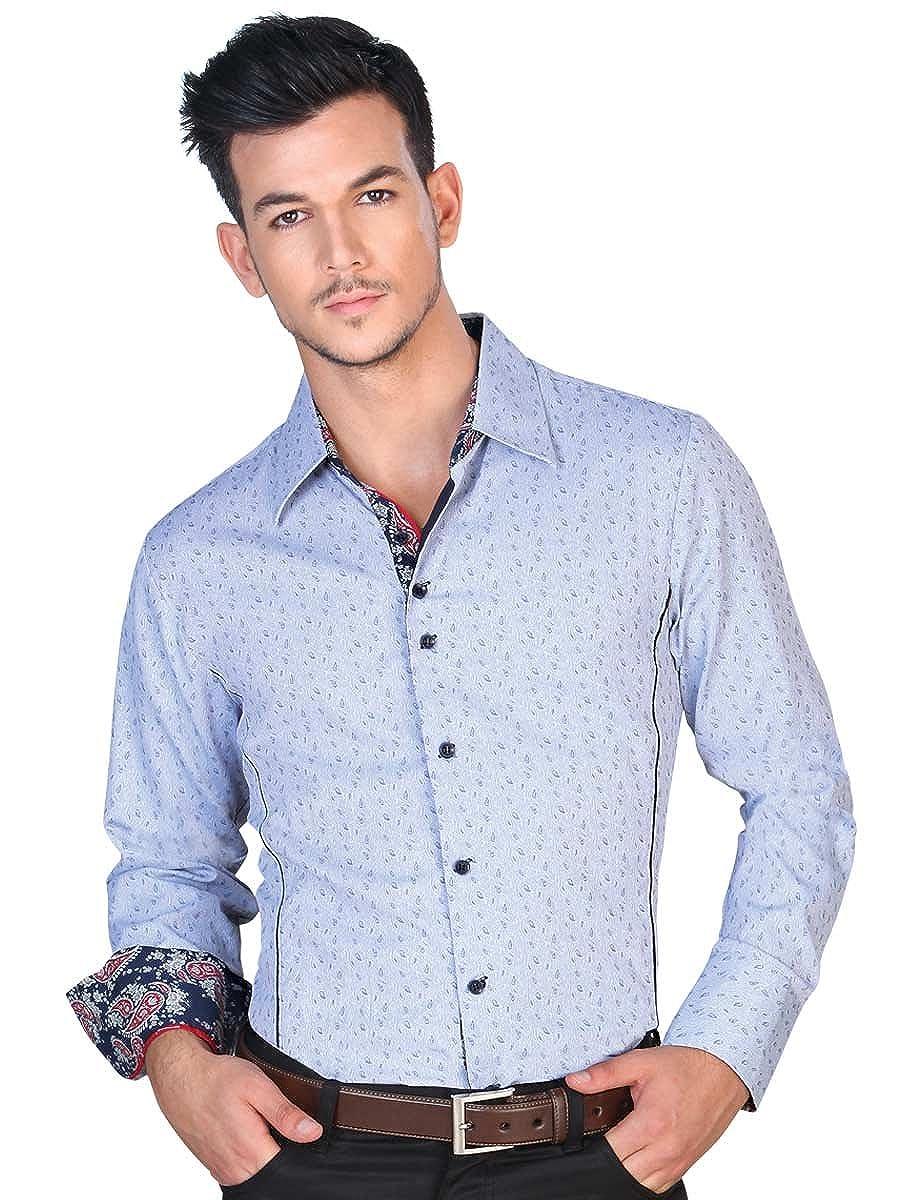 50/% Cotton 50/% Polyester ID 122091 Blue CW Camisa Vaquera Western Shirt L//Sleeve El General