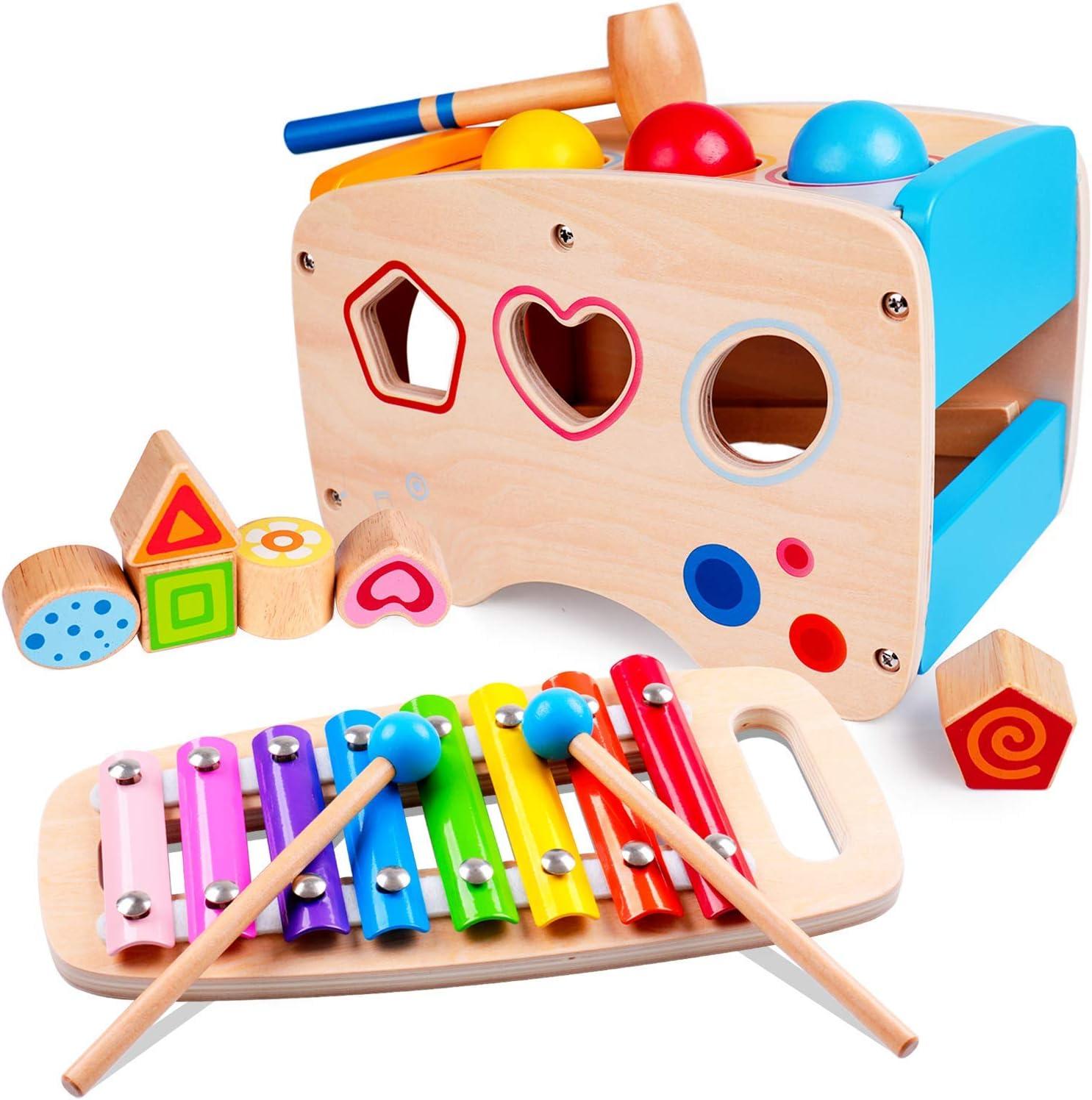Lamlingo Pelota de Martillo Juguetes,Tocar el xilófono de Madera,Rompecabezas de clasificación de Colores y Formas,Juguetes de Desarrollo de Aprendizaje para Regalos de niño y niña de 1,2,3 años
