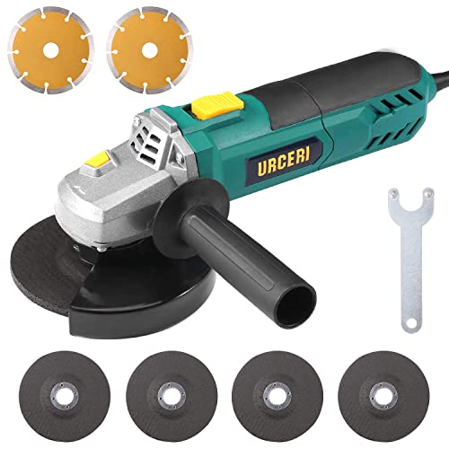 Angle Grinder 900W 5 inch Side URCERI Disc Grinder 7.5 Amp 12000RPM Heavy duty Cut Off Tool with 2 Position Side Handle and Protective Cover, Includes 4 Grinding and 2 Cutting Wheels
