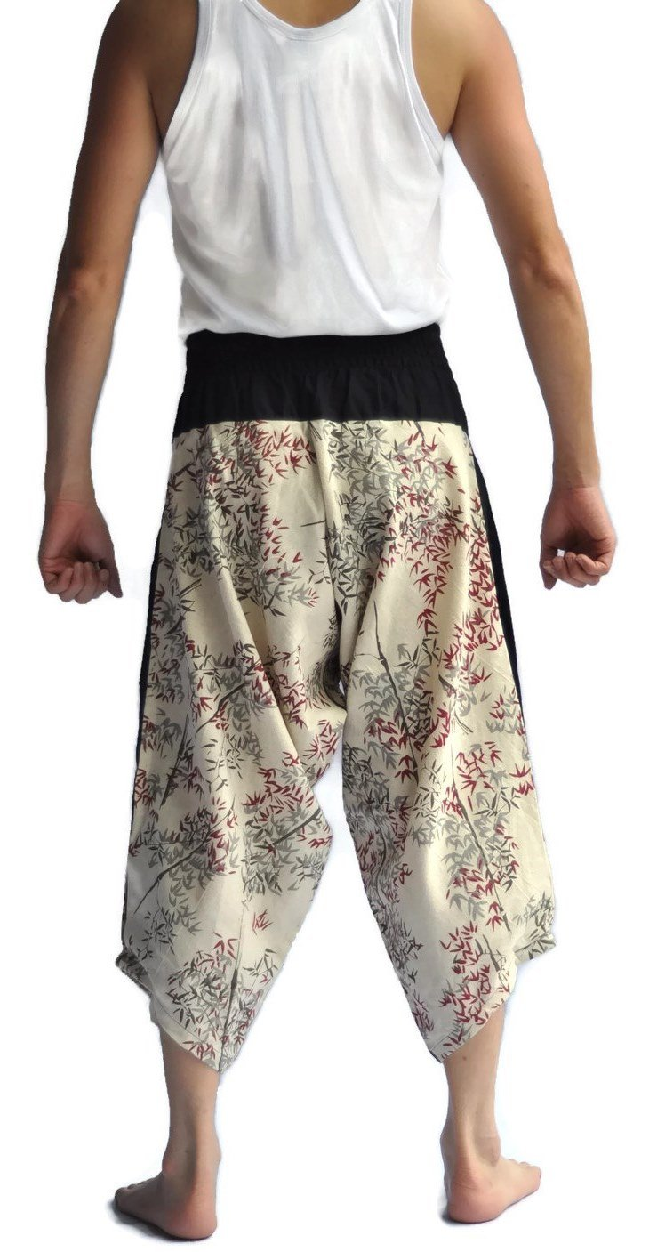 Siam Trendy Men's Japanese Style Pants One Size Two Tone bamboo design off white by Siam Trendy (Image #5)