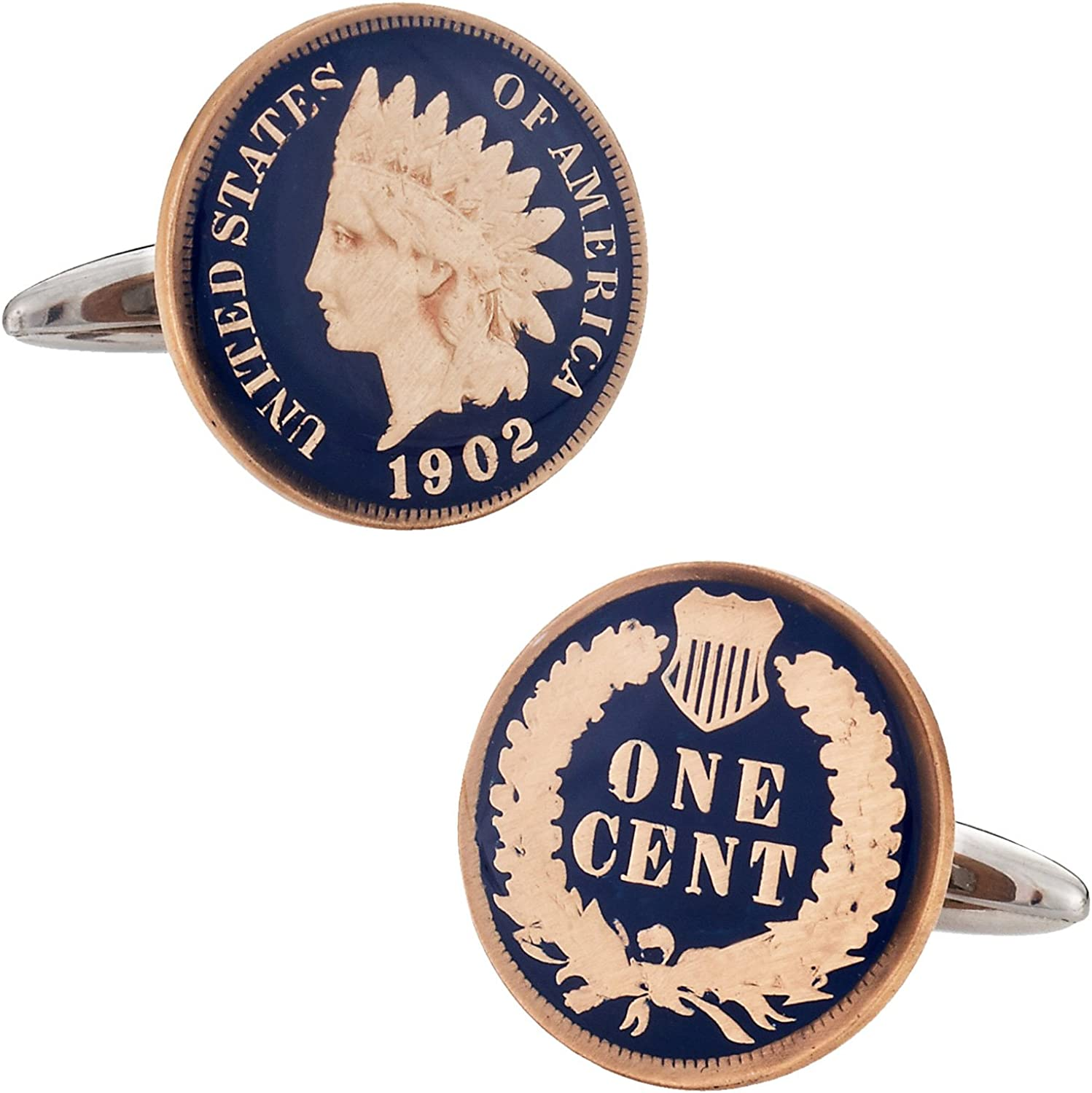 Cuff-Daddy Hand Painted Indian Head Penny Coin Cufflinks with Presentation Box