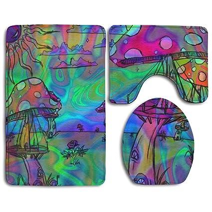HOT Psychedelic Trippy Wallpaper 3 Piece Soft Flannel Non Slip Bath Rug Set