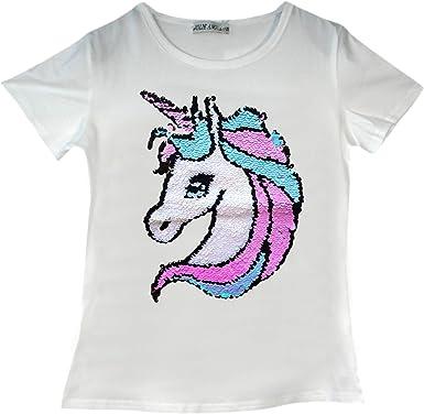 Camiseta de unicornio para niñas de 3 a 14 años Blanco 7576 5-6 Años: Amazon.es: Ropa y accesorios