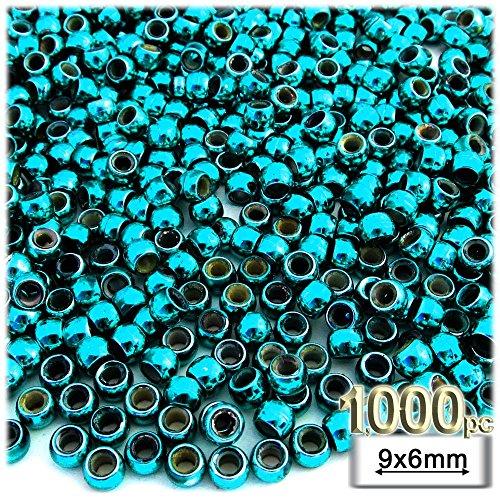 1,000pc Plastic Round Metallic Pony Beads 9x6mm Aqua Blue Beads