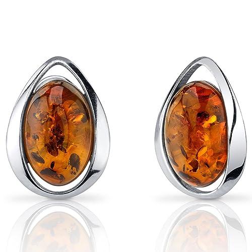Baltic Amber Stud Earrings Sterling Silver Cognac Color Oval Shape