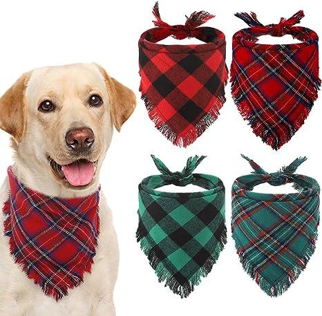 Classic Plaid Pet Scarf Triangle Bibs Kerchief Print Pet Bandana for Puppy Small Medium Large Dogs Cats Pets Style 1 2 Pack Dog Bandana My First Christmas
