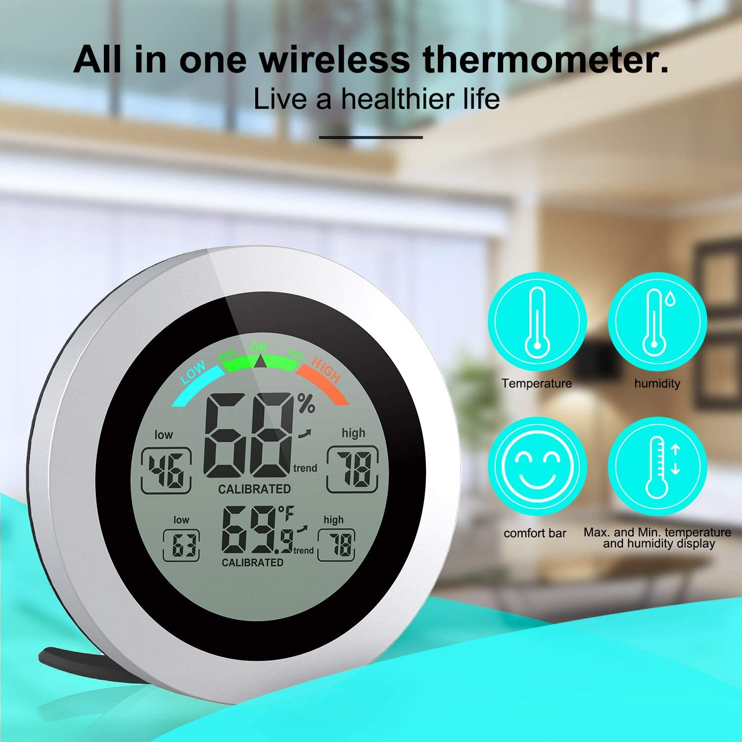 Geevon Digital Hygrometer Indoor Thermometer Temperature Humidity Monitor Gauge with Min and Max Records Indicator LCD Display