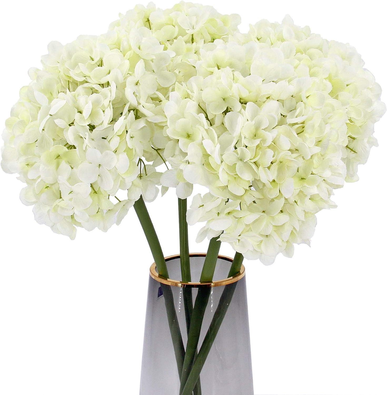 High Details Hydrangea Silk Flowers (225 Petals of Each Flower), Artificial Hydrangea Flowers, Silk Hydrangea Flowers Pack of 4 (Cream White)