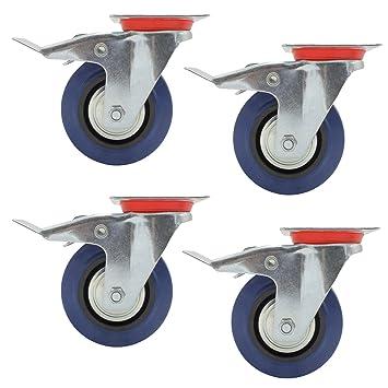 4 x 125mm Transportrollen Lenkrollen Schwerlastrollen mit Bremse 300KG//SET