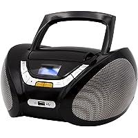 Lauson Lecteur CD | Radio Portable | USB | Radio Stéréo CD Lecteur MP3 pour Enfants | Chaîne Stéréo | Prise Casque | Aux in - Écran LCD - Batterie et Alimentation électrique | CP445 (Noir)