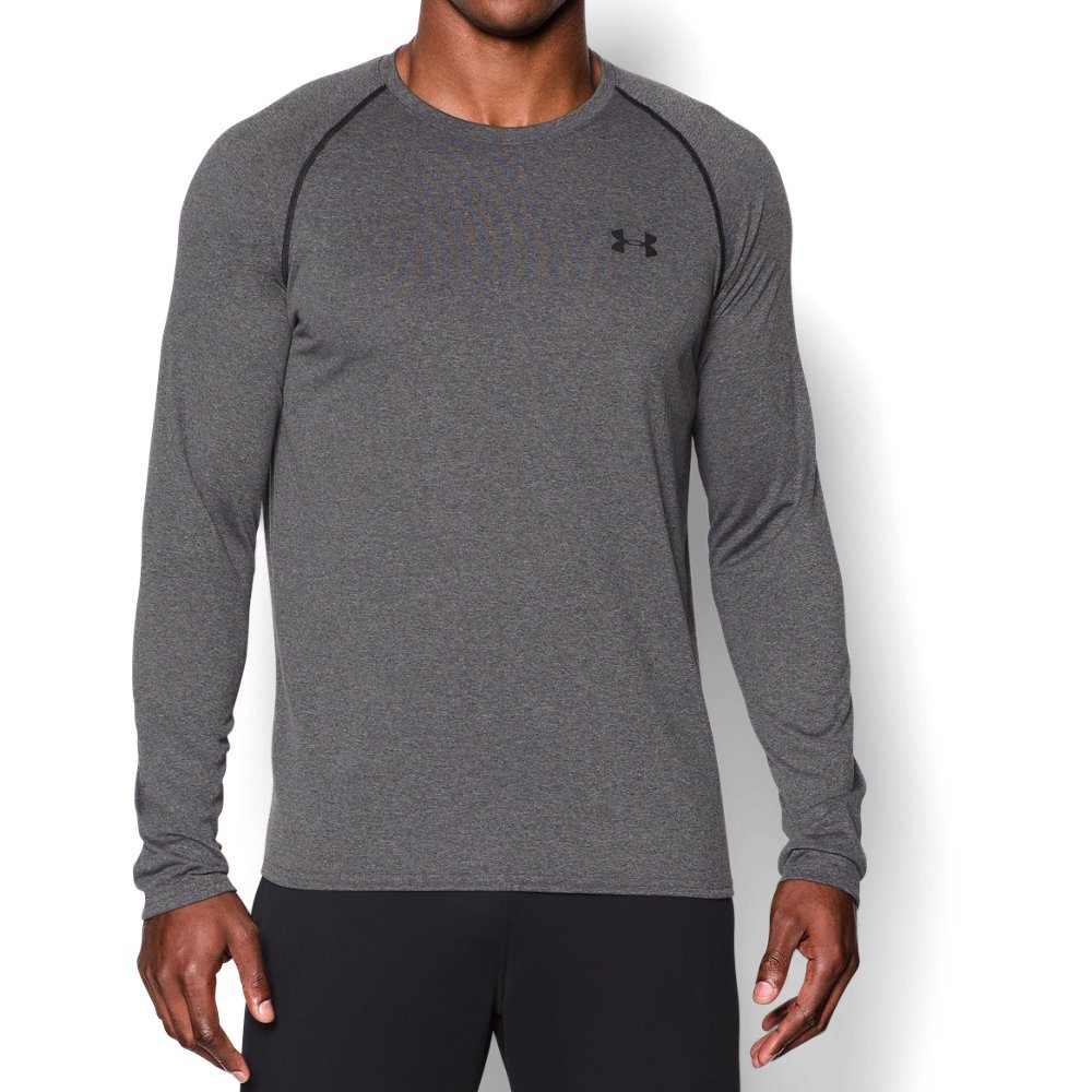 Under Armour Men's Tech Long Sleeve T-Shirt, Carbon Heather (090)/Black, X-Large by Under Armour