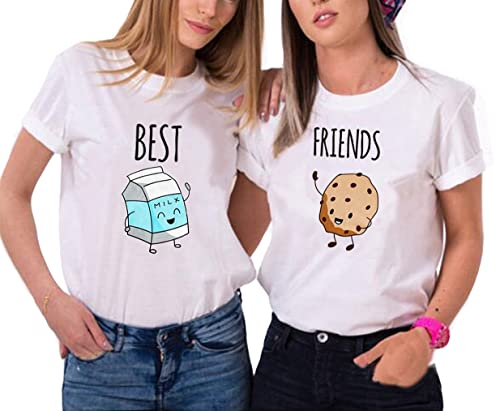 Ziwater T-Shirt Best Friends 2 Pezzi 1oo% Cotone Maglietta Divertente Latte e Biscotti Stampa Tops D...