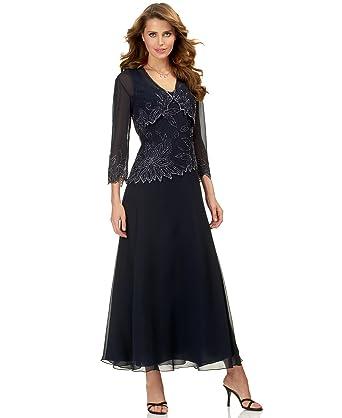e725f1d043 J Kara Women s 2 Pc Bolero Jacket Dress with Asymmetrical Hem at ...