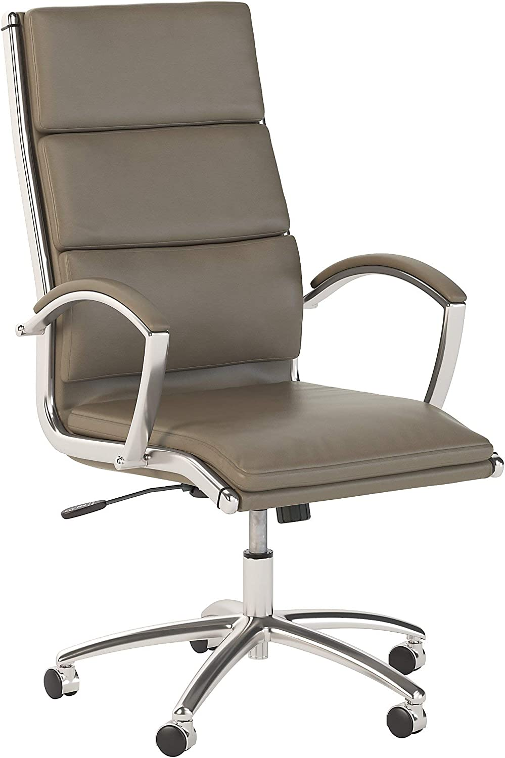 Bush Business Furniture Modelo High Back Leather Executive Office Chair in Washed Gray