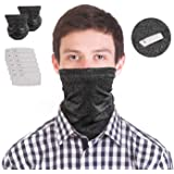 Neck Gaiter with Safety Carbon Filters-Scarf Bandanas Multi-purpose Face Cover For Men Women Sports Outdoors