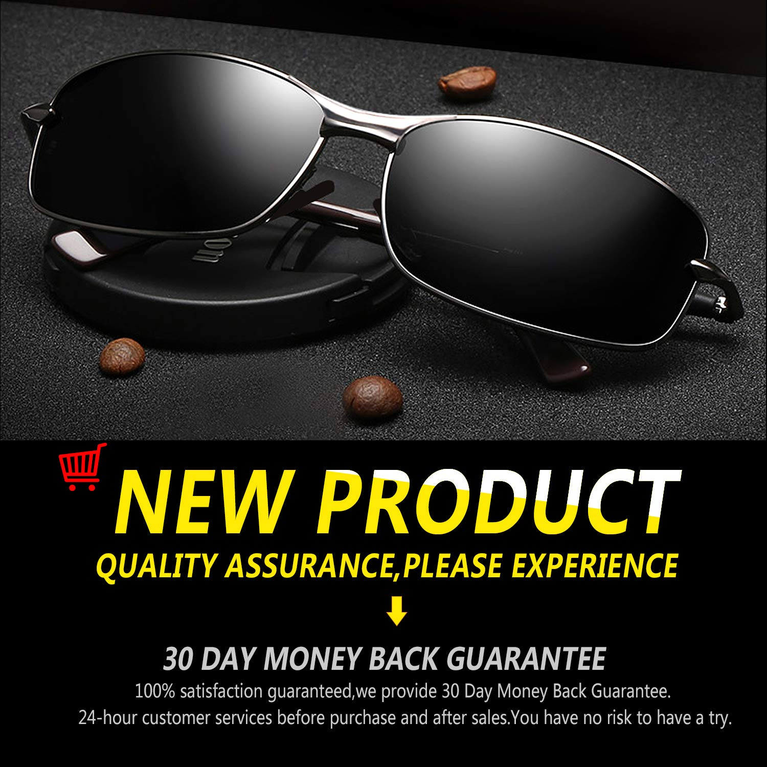 b56e1ae606 Amazon.com  Rectangular Sport Polarized Sunglasses for Men - Feirdio Mens  Sunglasses Sports Metal Frame 100% UV protection 2268 ((black gun