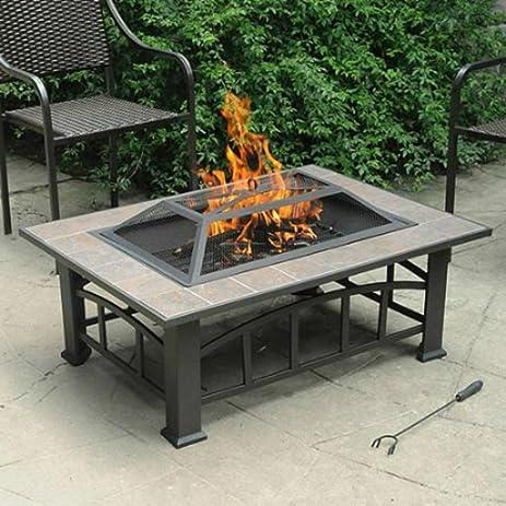 Amazoncom Axxonn Outdoor Rectangular Ceramic Tile Top Fire Pit