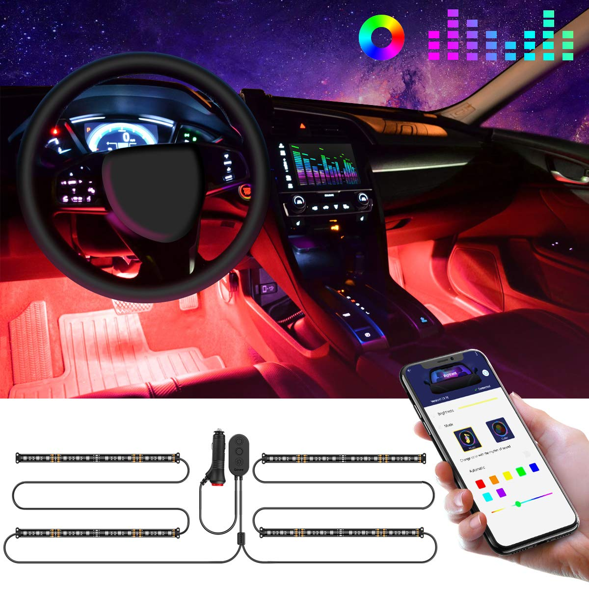 Led Lights For Cars >> Interior Car Lights Govee Car Led Strip Light Upgrade Two Line Design Waterproof 4pcs 48 Led App Controller Lighting Kits Multi Diy Color Music