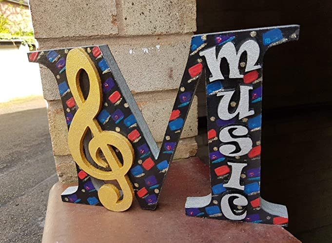 Wood Letter M For Music With A Treble Clef Amazoncouk Handmade