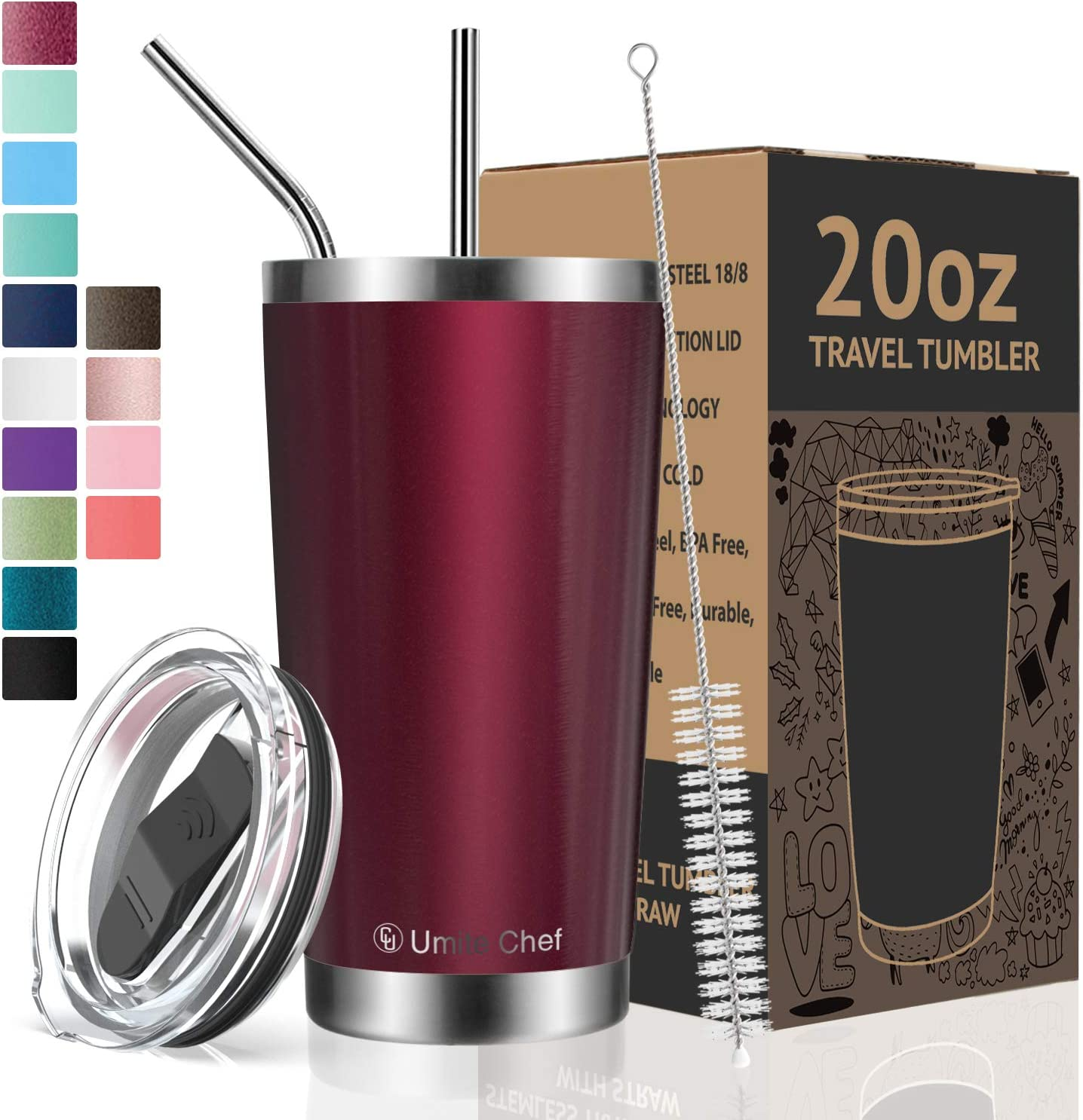 Umite Chef Tumbler Double Wall Stainless Steel Vacuum Insulated Travel Mug with Lid, Insulated Coffee Cup, 2 Straws, for Home, Outdoor, Office, School, Ice Drink, Hot Beverage (Wine Red, 20 oz)