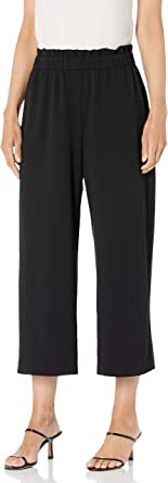 NINE WEST Women's Misses Drapey Crepe Pull ON Cropped Pant with Ruffle at WAISTEBAND, BLACK-169