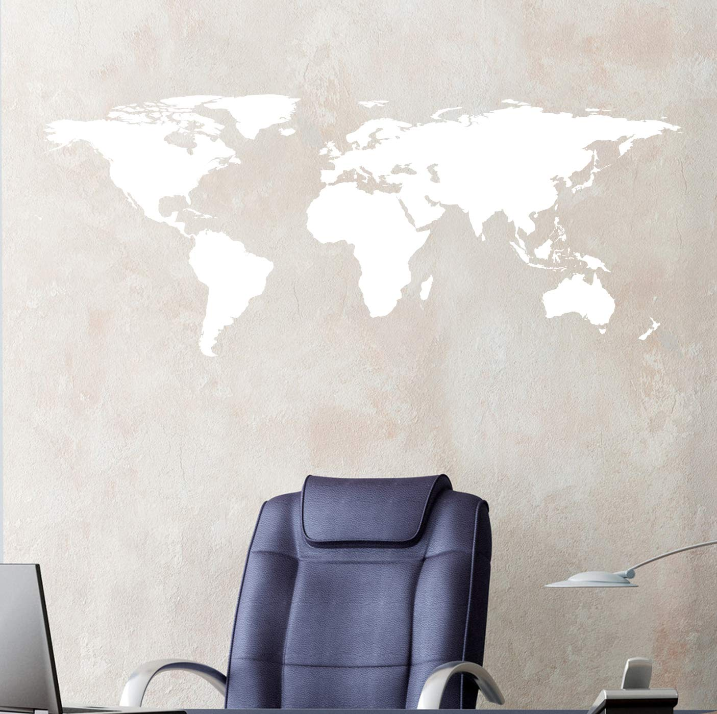 Stickerbrand White World Map Wall Decal Sticker Home Decor Vinyl Wall Art   Large (21in X 51in) Die-Cut Size  Removable