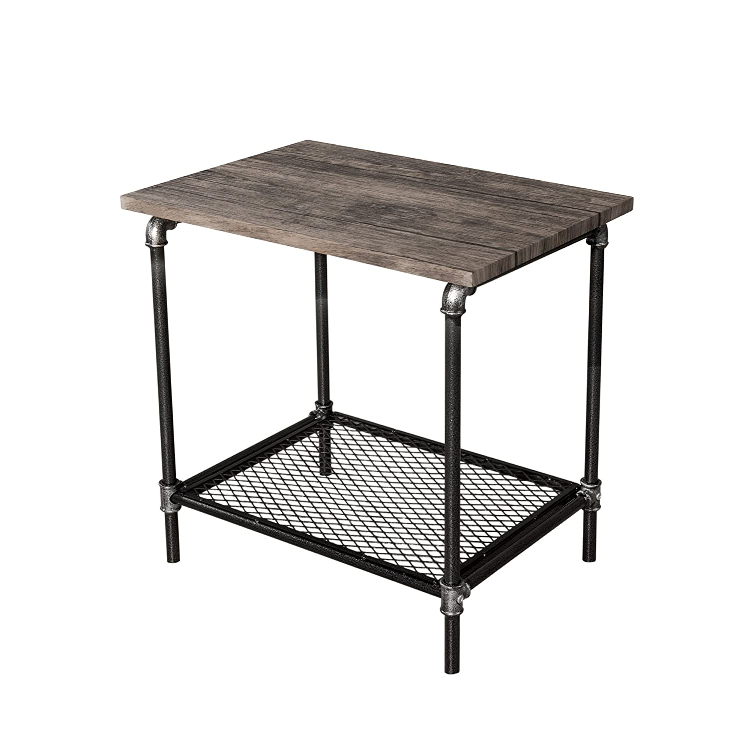 Starsong Retro Antique Industrial Vintage Style End Night Coffee Table Tool Stand With Storage Shelf
