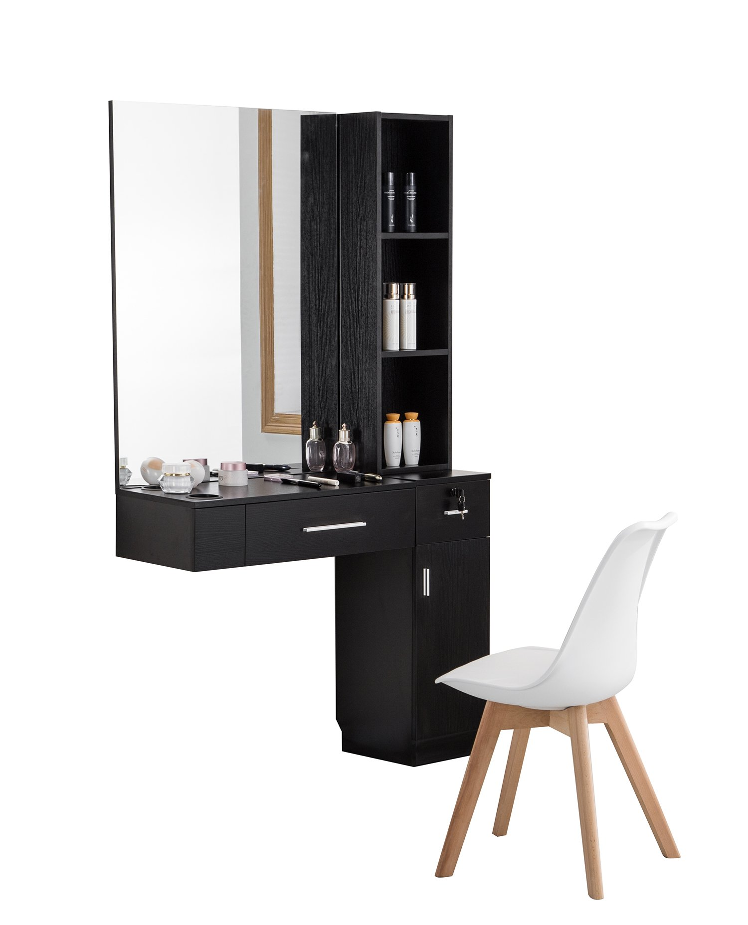 BarberPub Wall Mount Hair Styling W/Mirror Barber Station Dressing Table Beauty Salon Spa Equipment Set 3026/3036 (right shelf, Black)