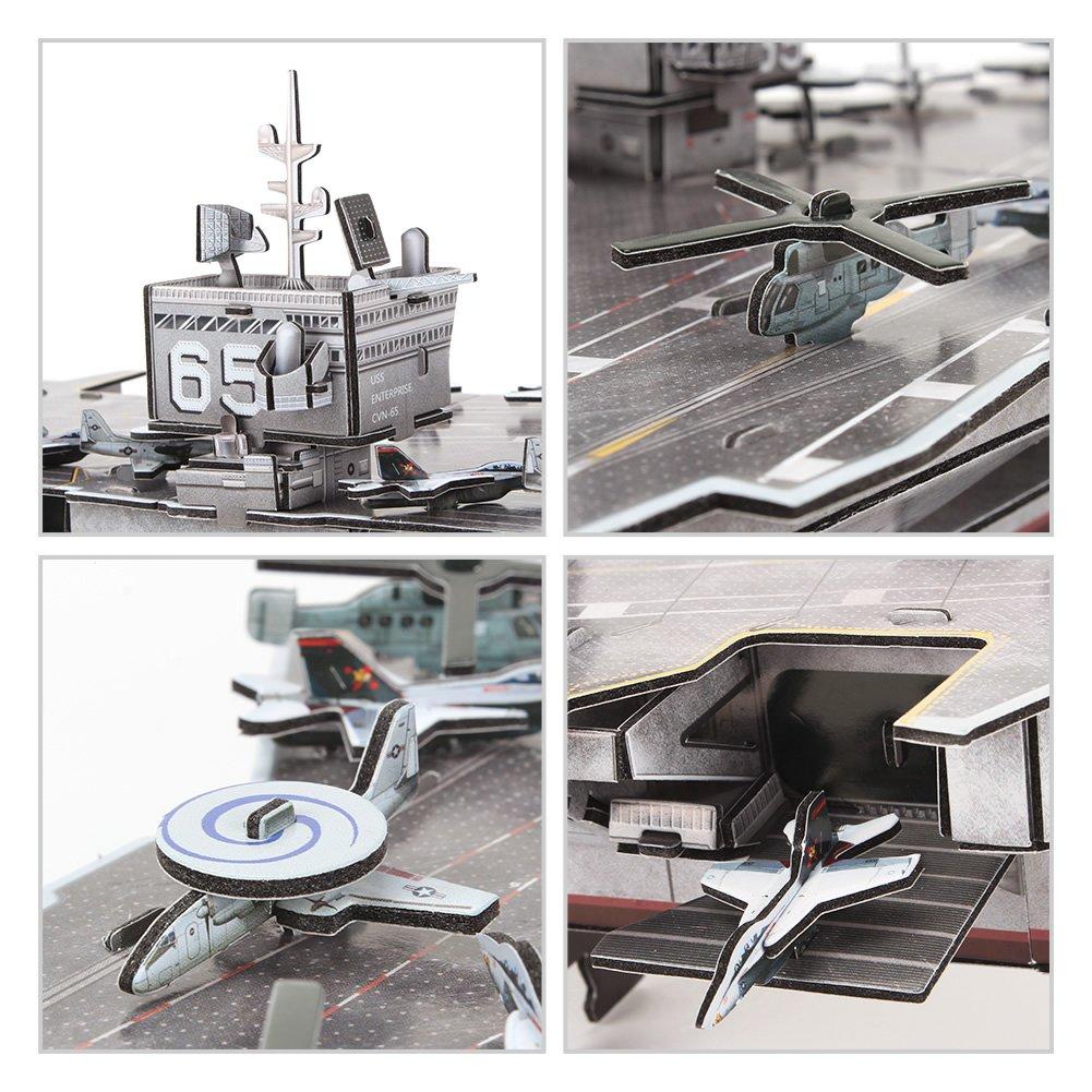 USS Enterprise Aircraft Carrier CubicFun 3D Puzzles Warships Model Kits 121 Pieces