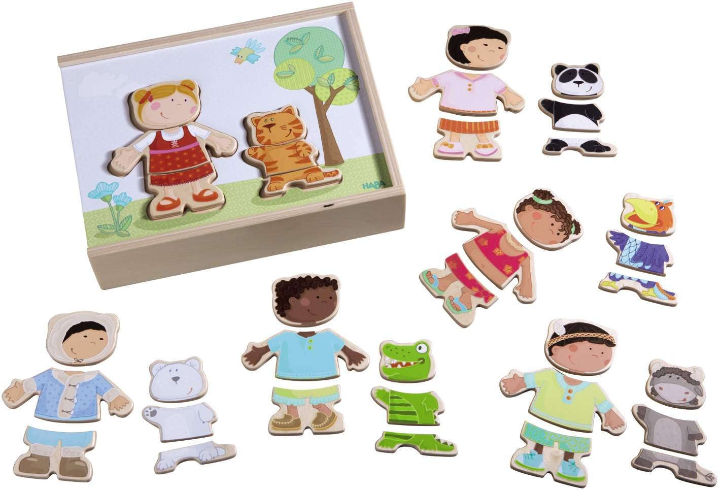 HABA Children of the World - 36 Piece Mix and Match Multi-Cultural Puzzle with Wooden Storage Box