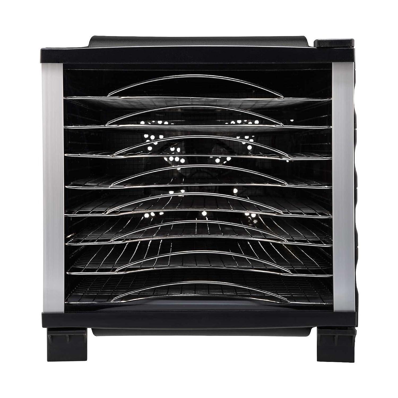BPA Free y Tritan puerta transparente Deshidratador de alimentos BioChef Arizona 8 bandejas de acero inoxidable Negro Temporizador bandejas m/óviles