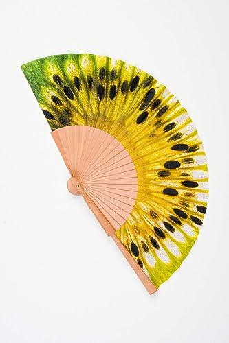 Abanico de madera y tela tacto seda de color amarillo y verde kiwi artesano handmade en España CMenendez: Amazon.es: Handmade
