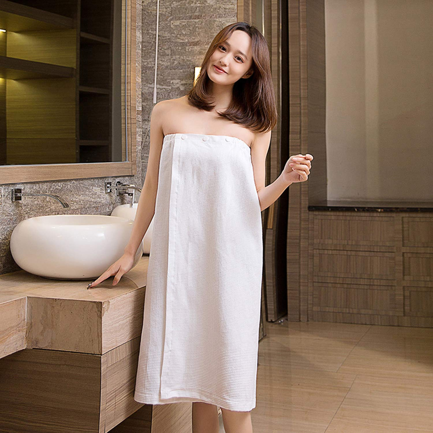 Home Bath Skirt, Ladies Simple Cotton Tube Top Bathrobe, Suitable for Girls in The Bathroom Bedroom Living Room Beach, AB Two White B