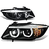 BMW E90 3-Series Pair of 3D Halo Projector Amber LED Corner Headlights (Black Housing)