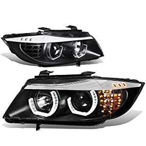 For BMW E90 3-Series Pair of 3D Halo Projector Amber LED Corner Headlights (Black Housing)