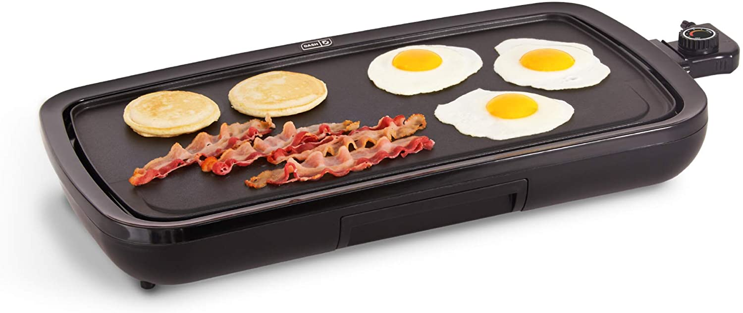 DASH DEG200GBBK01 Everyday Nonstick Electric Griddle for Pancakes, Burgers, Quesadillas, Eggs & other on the go Breakfast, Lunch & Snacks with Drip Tray + Included Recipe Book, 20in, Black