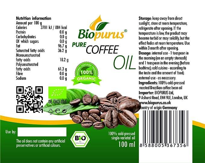 Granos de café orgánico certificado prensado en frío aceite ...