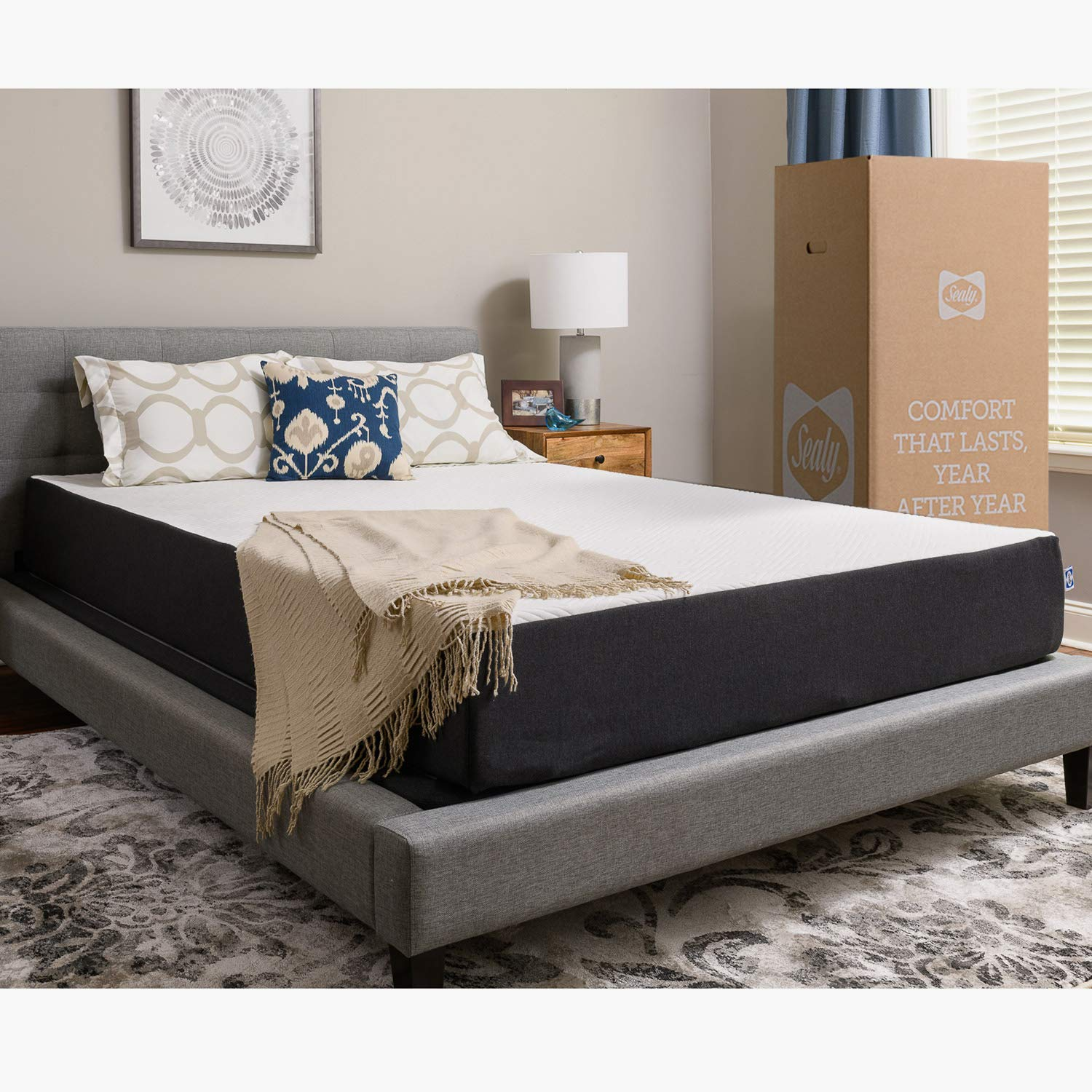 Sealy, 10-Inch, Memory Foam bed in a box, Adaptive Comfort Layers, Medium-Firm Feel, King by Sealy