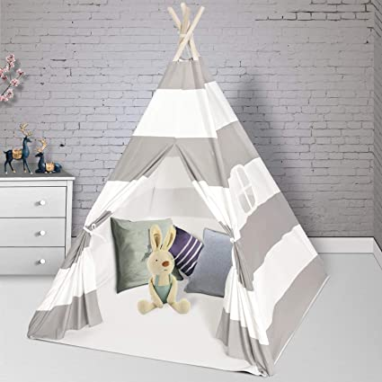 Amazon Com Wilhunter Teepee Play Tent For Kids With Floor Mat Window Carry Bag Foldable Canvas Teepee Gifts For Baby Or Toddlers Toys For Boys And Girls Indoor Outdoor Playhouse Grey