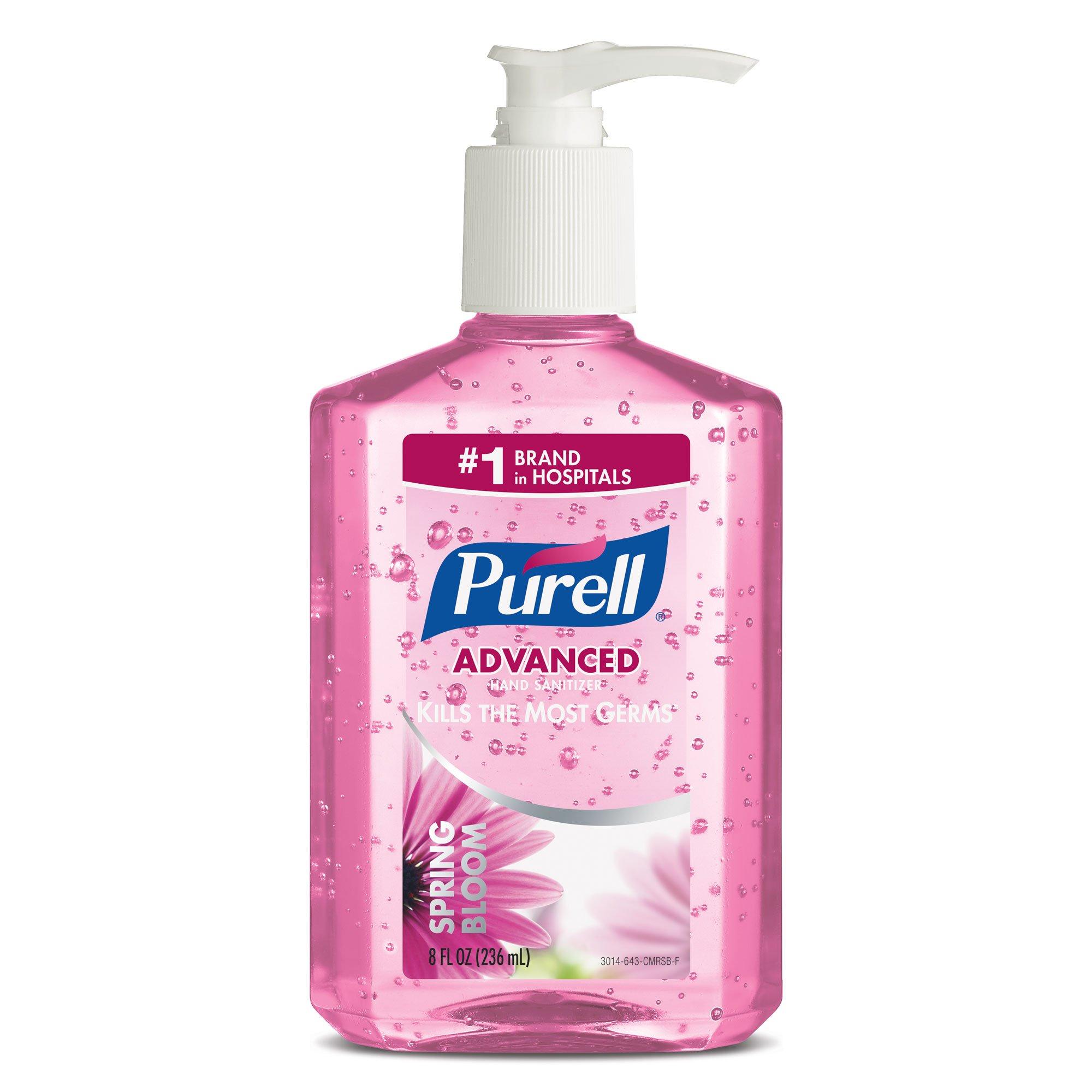 PURELL Advanced Hand Sanitizer - Spring Bloom, 8 oz. Pump Bottle, Pink (Pack of 4)