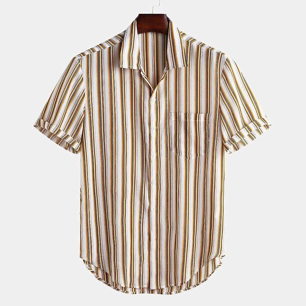Camisa de Hombre de fantasía, Feixiang, Camisa de Hombre de Manga Corta, Camisas Hawaianas de Rayas, Camisa Hawaiana, Hombre flamencos Amarillo XXL: Amazon.es: Ropa y accesorios