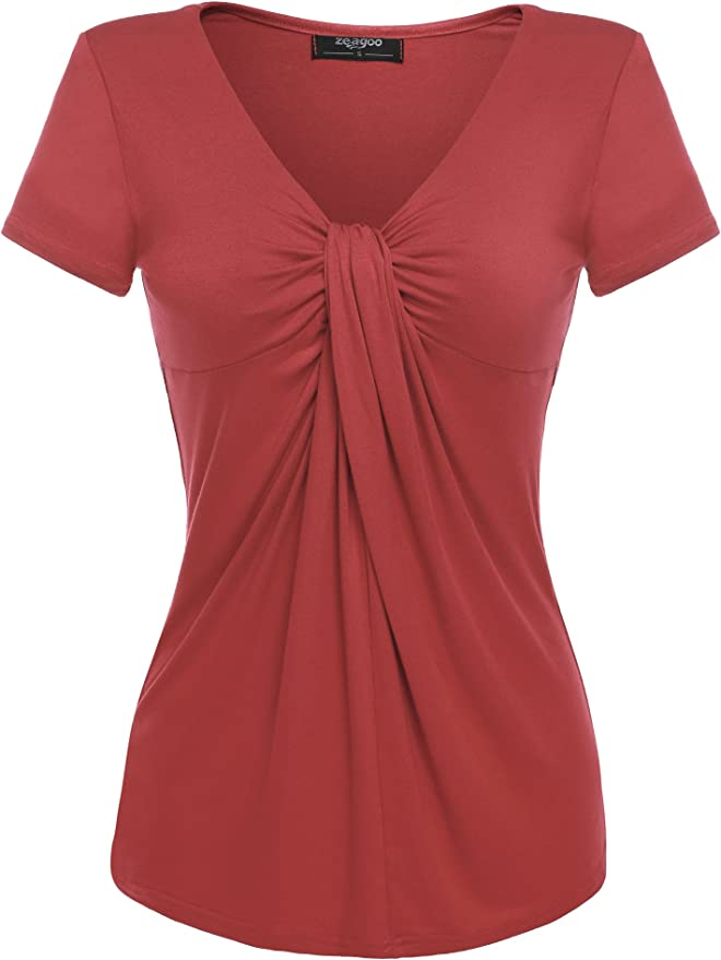 Zeagoo Women V Neck Twist Knot Front Short Sleeve Casual Top (Small, Coral)