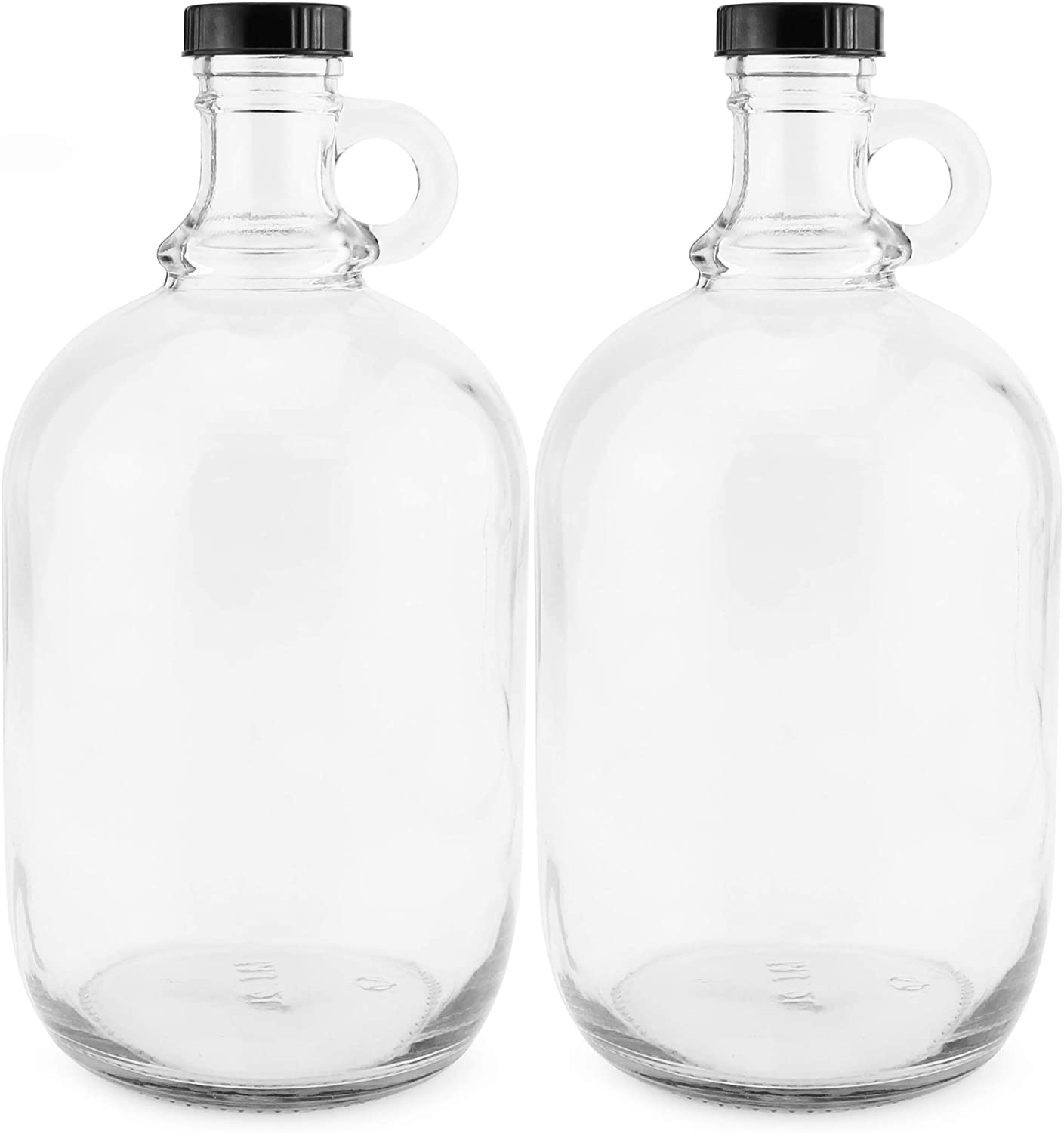 Amazon Com 64 Ounce Half Gallon Clear Glass Kombucha Growler Jugs W Polycone Phenolic Lids 2 Pack Great For Home Brew Distilled Water Cider More Kitchen Dining
