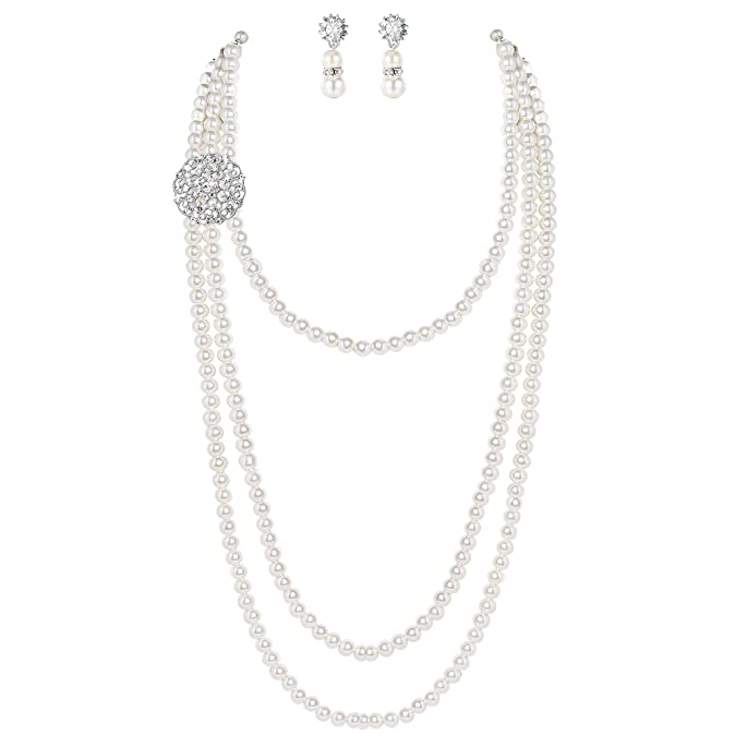 BABEYOND 1920s Gatsby Pearl Necklace Vintage Bridal Pearl Necklace Earrings Jewelry Set Multilayer Imitation Pearl Necklace with Brooch (Style 1)