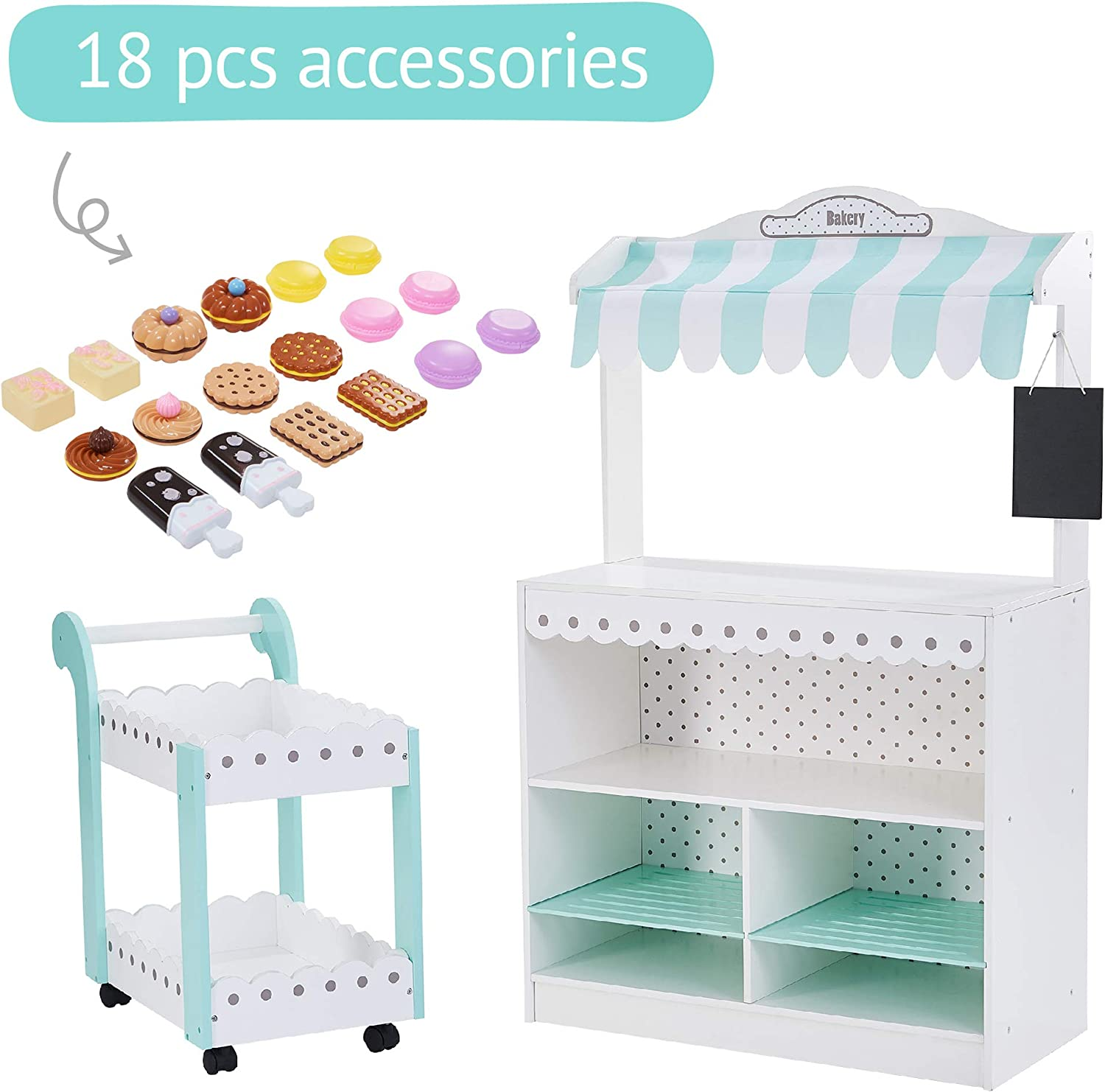 Teamson Kids - My Dream Wooden Bakery Shop Dessert Stand Pretend Play with 18 Pieces Accessories for Kids 3 4 5 Years Old Boys Girls - White / Petrol