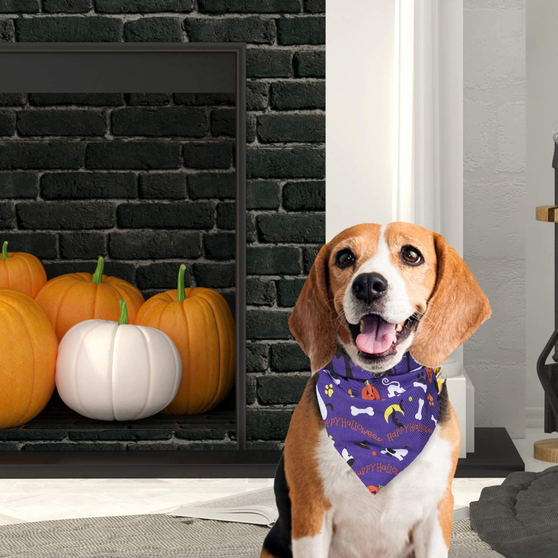 Whaline 5 Pack Halloween Dog Bandanas, Triangle Pet Scarfs Washable Pet Neckerchief Dog Bibs, Pumpkin, Ghost, Candy Corn and Bones Pet Bandanas : Pet Supplies