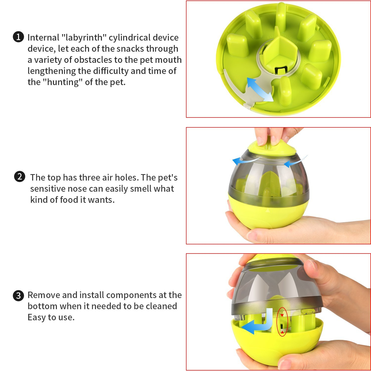 KAOSITONG Interactive Dog Toy,Interactive Food Dispensing Ball Dogs Cat Increases IQ & Mental Stimulation,Slows Down Eating,Promoting Active Healthy Feeding Small Medium Large Dogs,Easy to Clean by KAOSITONG (Image #2)