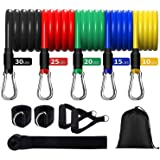 Exercise Resistance Bands Set (11pcs), Resistance Workout Bands with Door Anchor, Ankle Straps & Carrying Case, Great for Hom