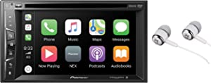 "Pioneer Multimedia Double-Din In-Dash 6.2"" WVGA Display DVD Receiver Apple CarPlay/Built-in Bluetooth/SiriusXM-Ready/AppRadio Mode/ Spotify & Pandora Bundled with Alphasonik Earbuds"